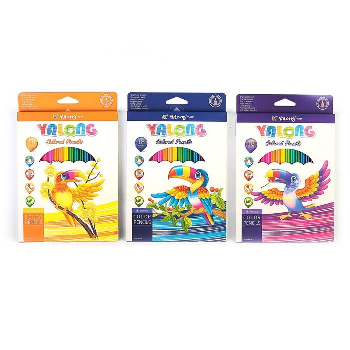 Карандаши 18 цветов, в картонной коробке, Yalong, заточенные, треугольные, МИКС