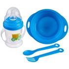 Набор детской посуды «Малыш», 4 предмета: тарелка, поильник, ложка, вилка, от 5 мес.