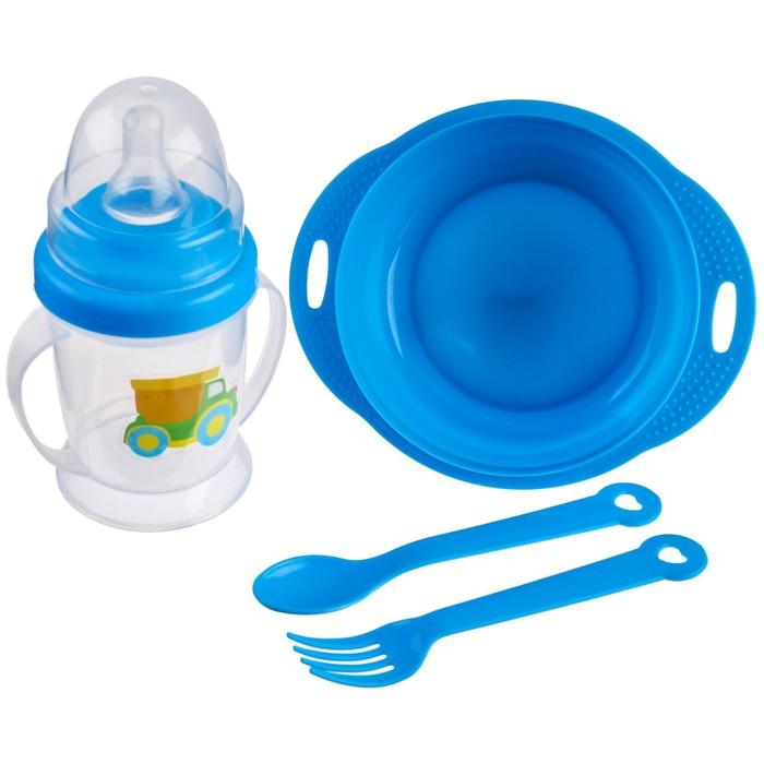Набор детской посуды «Малыш», 4 предмета: тарелка, поильник, ложка, вилка, от 5 мес. - фото 967882