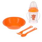 Набор детской посуды «Мишка», 4 предмета: тарелка, поильник, ложка, вилка, от 5 мес.