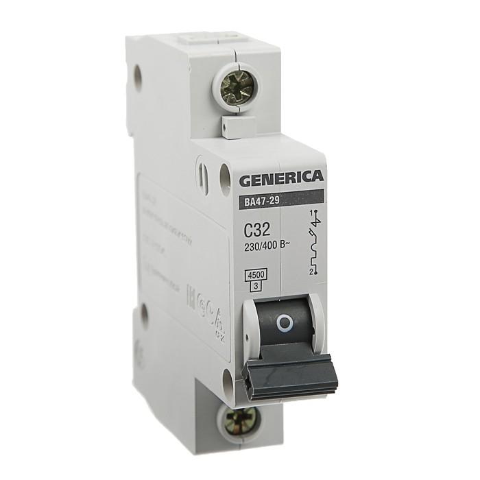 Выключатель автоматический IEK GENERICA ВА47-29, 1п, 32 А, 4.5 кА, хар-ка С