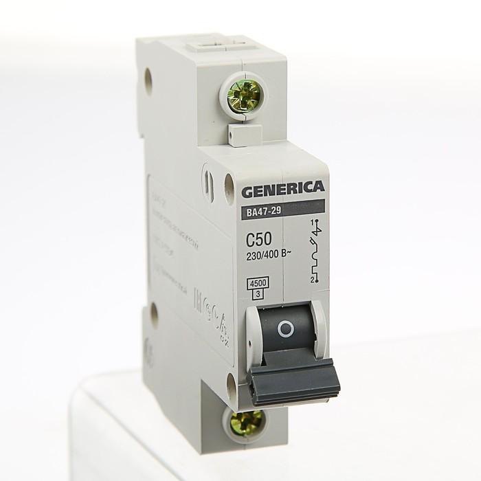 Выключатель автоматический IEK GENERICA ВА47-29, 1п, 50 А, 4.5 кА, хар-ка С
