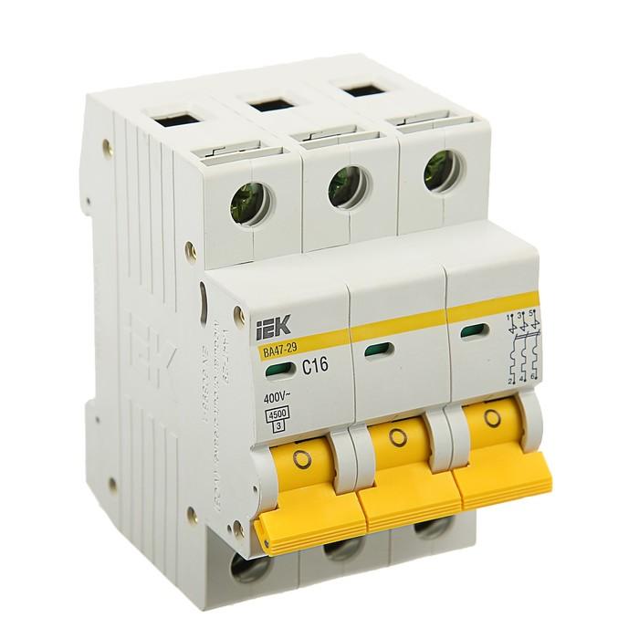 Выключатель автоматический  IEK, ВА47-29, 3п, 16 А, 4,5 кА, характеристика С, MVA20-3-016-C   374253