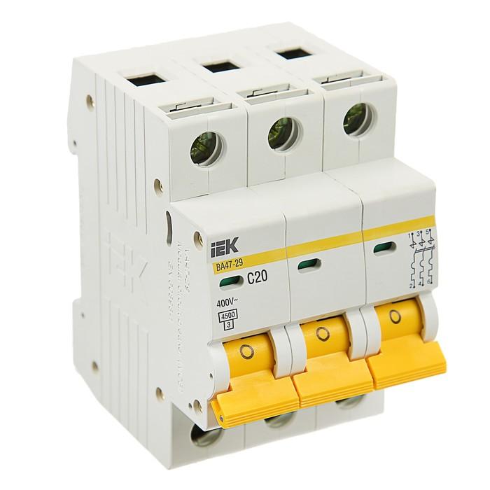 Выключатель автоматический  IEK, ВА47-29, 3п, 20 А, 4,5 кА, характеристика С, MVA20-3-020-C   374253
