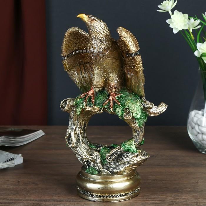 "Сувенир полистоун ""Орёл с золотыми крыльями на старом дереве"" 25,7х13х9 см - фото 798029632"