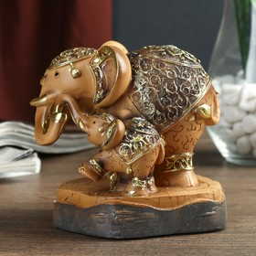 """Souvenir Polyresin """"the elephant and the elephant with the patterns on the blanket"""" 12h11,5x8 cm"""