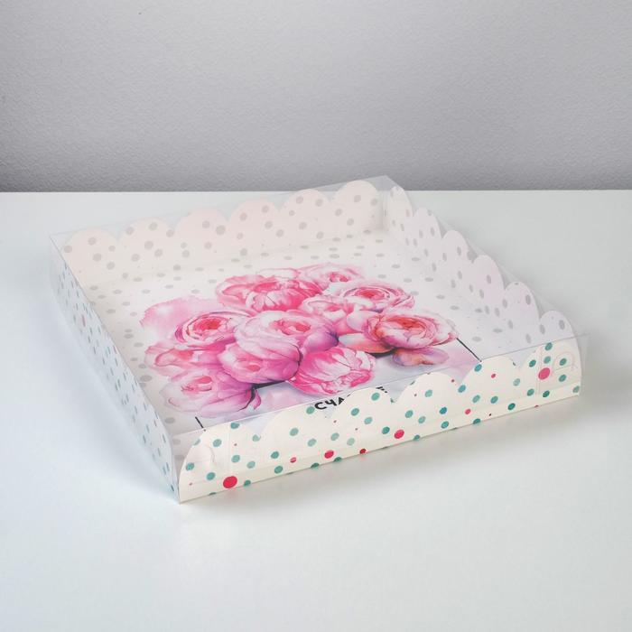 Коробка подарочная с PVC-крышкой «Счастье ждет тебя», 35 × 35 × 6 см - фото 308984932