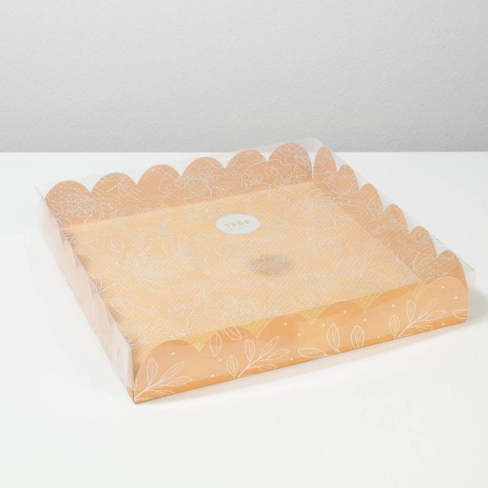 Коробка подарочная с PVC-крышкой «Замечательный день», 35 × 35 × 6 см - фото 308984935