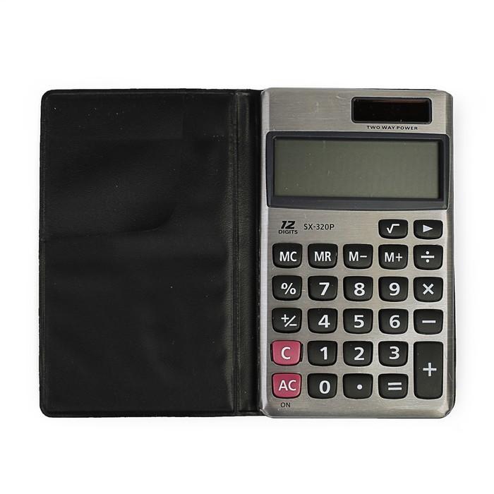 Калькулятор карманный, 12-разрядный, двойное питание - фото 438352852