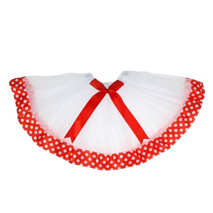 Карнавальная юбка «Горох», с бантиком, 3-х слойная, 4-6 лет, цвет красный
