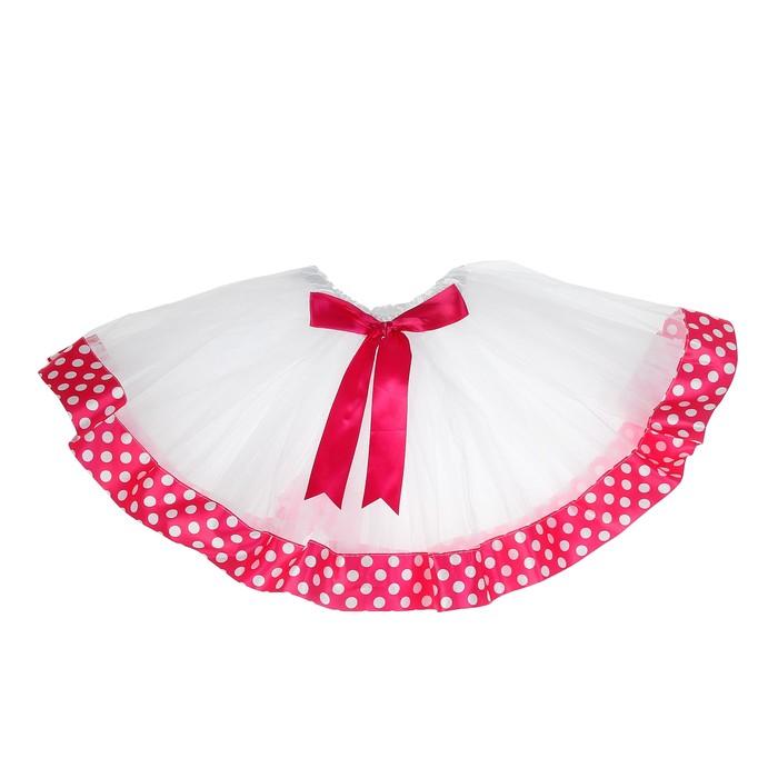 Карнавальная юбка «Горох», 3-х слойная с бантиком 4-6 лет, цвет розовый