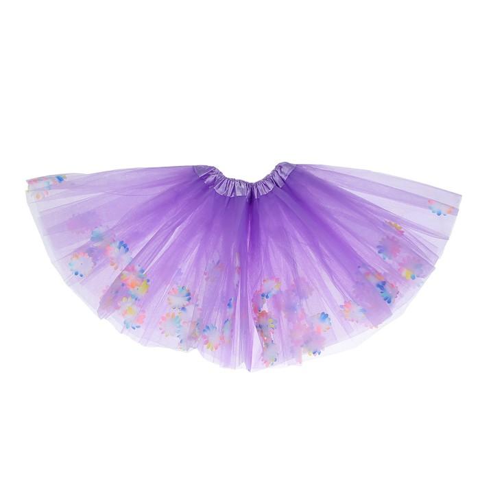 Карнавальная юбка «Цветочки», 3-х слойная, 4-6 лет, цвет фиолетовый