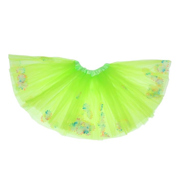 Карнавальная юбка «Цветочки», 3-х слойная, 4-6 лет, цвет зелёный
