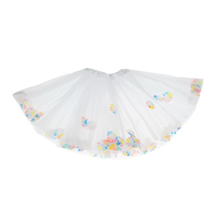 Карнавальная юбка «Цветочки», 3-х слойная, 4-6 лет, цвет белый