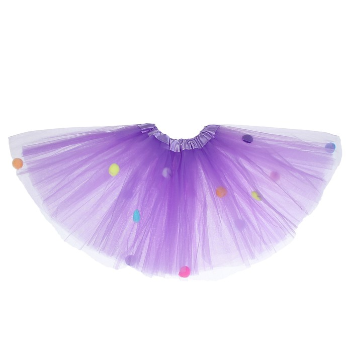 Карнавальная юбка «Помпушки», 3-х слойная, 4-6 лет, цвет фиолетовый