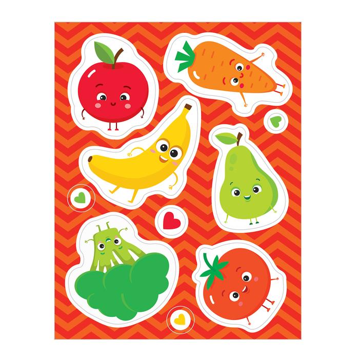 Наклейки детские развивающие «Фрукты и овощи» на стульчик для кормления