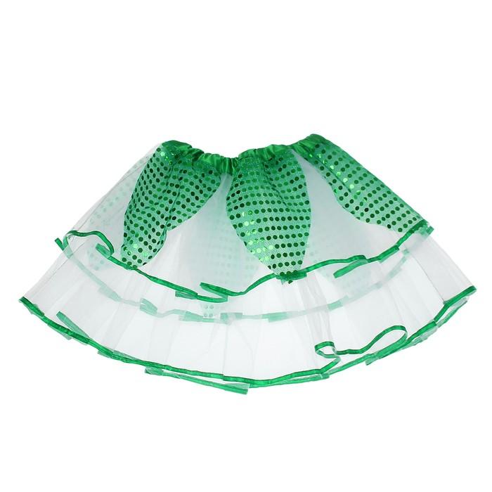 Карнавальная юбка «Цветочек», 2-х слойная 4-6 лет, цвет зелёный