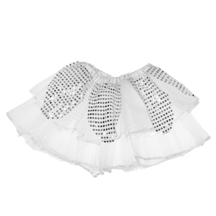 Карнавальная юбка «Цветочек», 2-х слойная, 4-6 лет, цвет серебряный