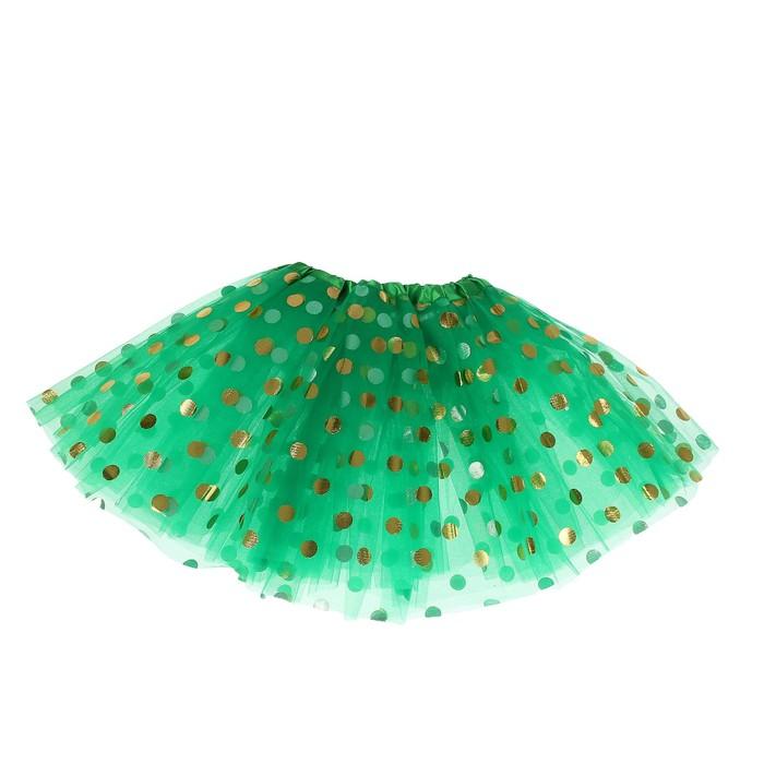 Карнавальная юбка «Горох», 3-х слойная, 4-6 лет, цвет зелёный - фото 452195