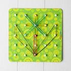 Геоборд «Цветы», в комплекте карточка с примерами и резиночки