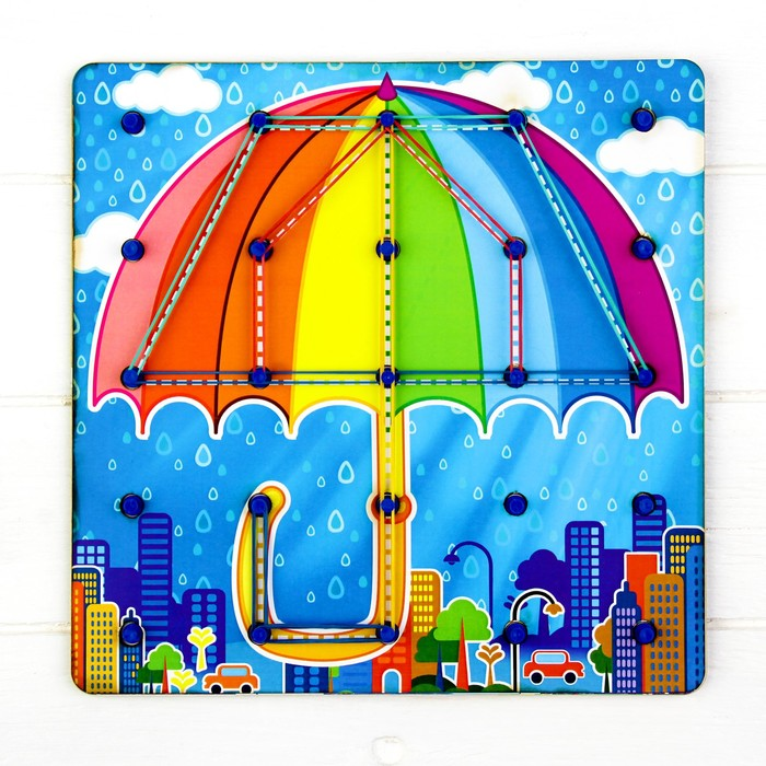 Геоборд «Ассорти» 4 карточки-схемы, резинки