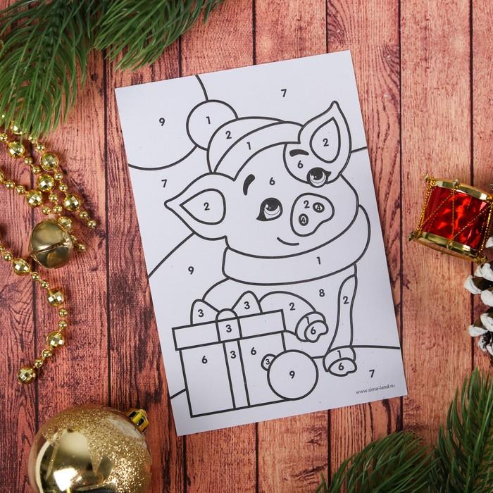 Новогодняя открытка срисовать год свинью, дню