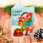 """Новогодняя фреска на открытке """"С Новым годом!"""", хрюшка, набор: песок 9 цветов 2гр, стека"""
