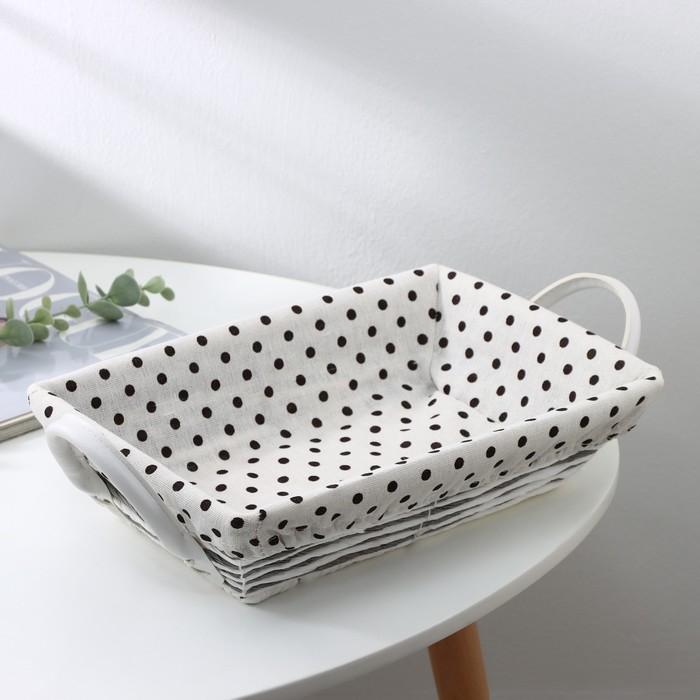 The storage basket is woven with handles 31х25х10 cm polka dot, color chocolate-white