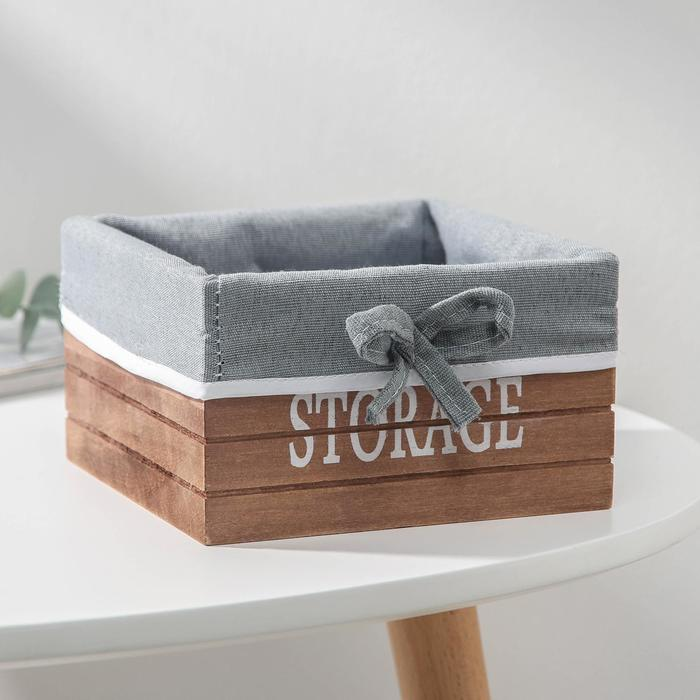 """Basket storage wooden round 15×15×9 cm """"Storage"""", color beige"""