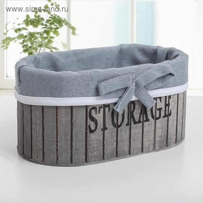 "Storage basket wooden oval 15×15×9 cm ""Storage"" , color gray"
