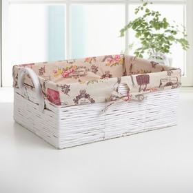 Корзина для хранения плетёная Доляна «Париж», 45×31×19 см, цвет белый