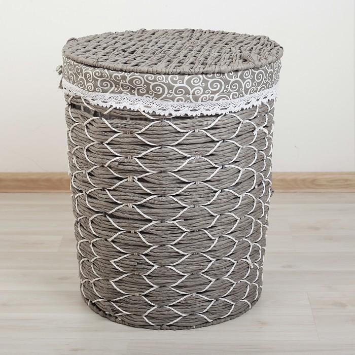 Корзина универсальная плетёная с крышкой Доляна «Вьюнок», 44×44×53 см, цвет серый - фото 919137