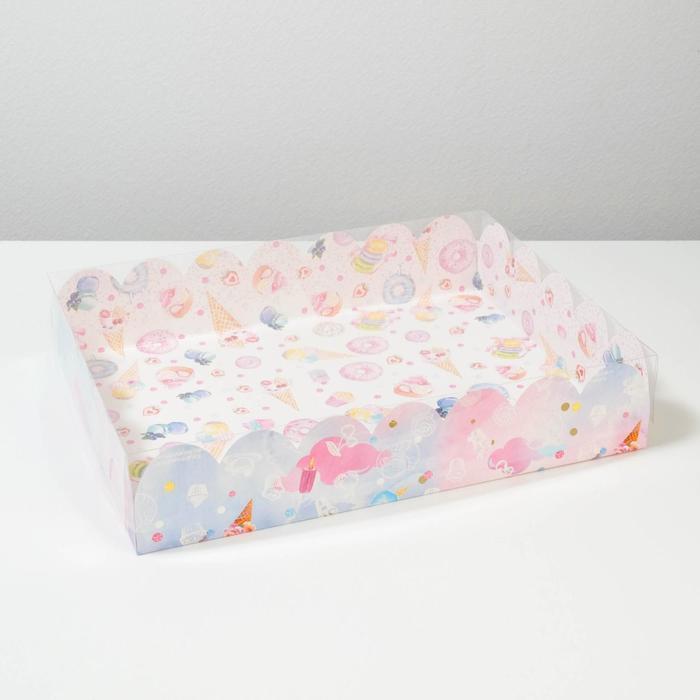 Коробка подарочная с PVC-крышкой «Вкусности», 30 × 40 × 8 см - фото 308984956