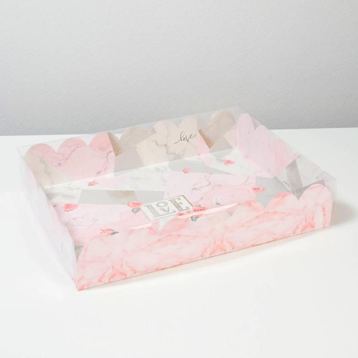Коробка подарочная с PVC-крышкой Love, 30 × 40 × 8 см - фото 308984962