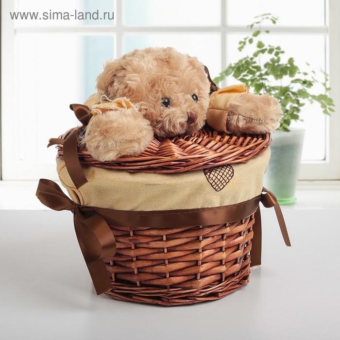 """Laundry basket wicker round """"Bear"""" 21х21х15 cm, small"""