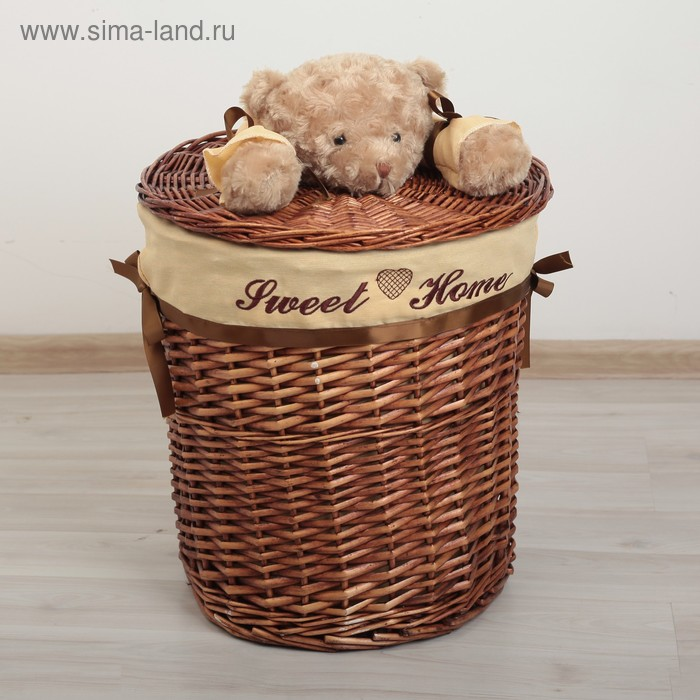 "Laundry basket wicker round ""Bear"" 29х29х27 cm, average"