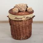 Корзина универсальная плетёная с крышкой Доляна «Медвежонок», 36×36×40 см, цвет коричневый - фото 4465255