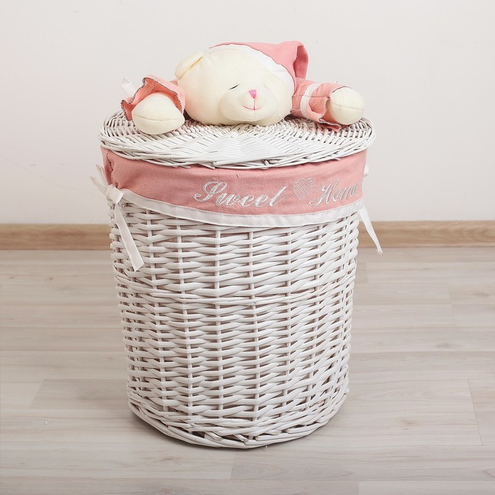 Корзина универсальная плетёная с крышкой Доляна «Медвежонок розовый», 45×45×55 см - фото 4465273