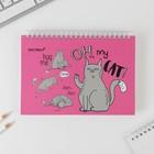"""Скетчбук горизонтальный на гребне """"Oh, my CAT"""", твёрдая обложка, А5, 80 листов"""