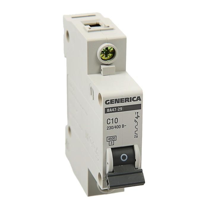 Выключатель автоматический IEK GENERICA ВА47-29, 1п, 10 А, 4.5 кА, хар-ка С