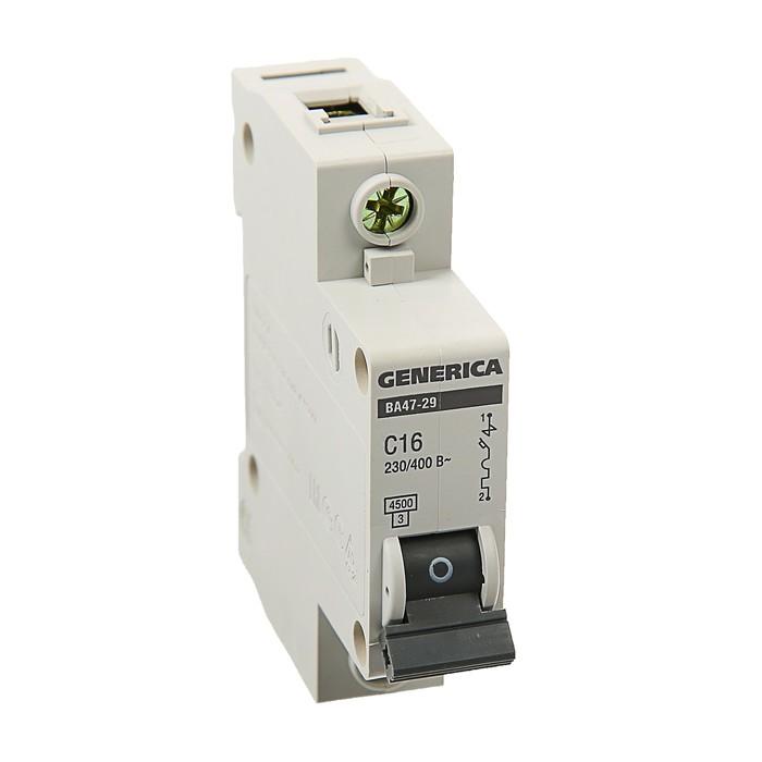 Выключатель автоматический IEK GENERICA ВА47-29, 1п, 16 А, 4.5 кА, хар-ка С