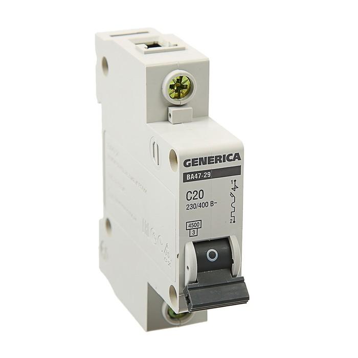 Выключатель автоматический IEK GENERICA ВА47-29, 1п, 20 А, 4.5 кА, хар-ка С