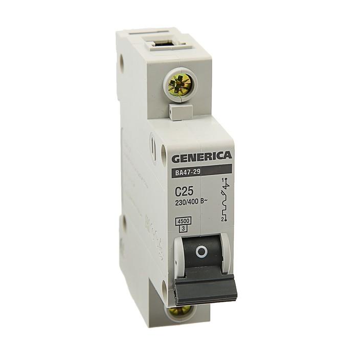 Выключатель автоматический IEK GENERICA ВА47-29, 1п, 25 А, 4.5 кА, хар-ка С