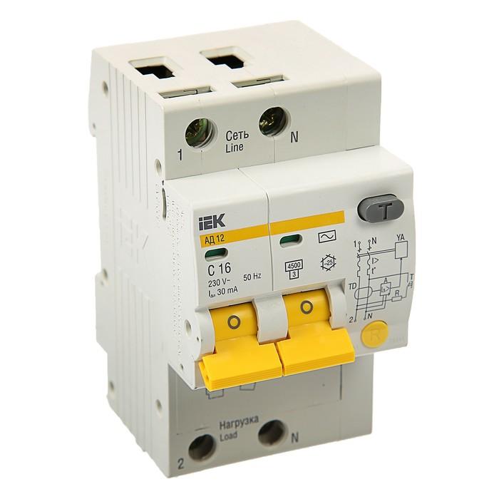 Дифференциальный автомат IEK, АД-12, 2п, 16 А, характеристика С, 30 мА, 4.5 кА, MAD10-2-016-   37425
