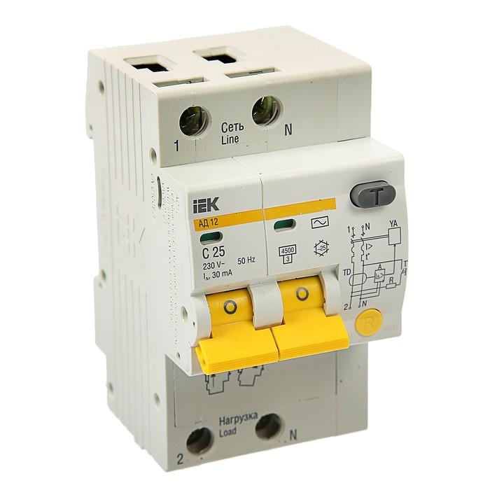 Дифференциальный автомат IEK, АД-12, 2п, 25 А, характеристика С, 30 мА, 4.5 кА, MAD10-2-025-   37425