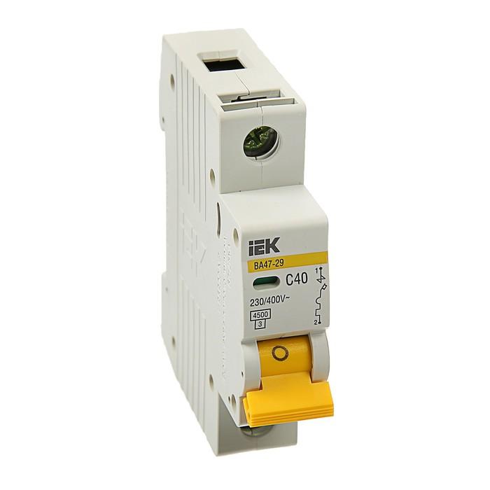 Выключатель автоматический  IEK, ВА47-29, 1п, 40 А, 4,5 кА, характеристика С, MVA20-1-040-C   374253