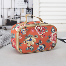 Cosmetic bag-trunk, division zipper, mirror, color orange