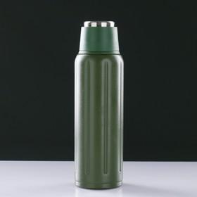 """Термос """"Sport"""" на ремешке, 500 мл, сохраняет тепло 12 ч, тёмно-зелёный, 7х23 см"""