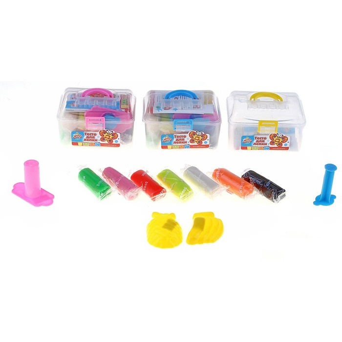 Тесто для лепки, 7 цветов, 190 грамм, 2 формочки, шприц, инструкция, цвета МИКС - фото 1045953