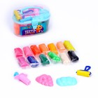 Modeling dough, 13 colors, 200 g, 2 cookie cutters, roller, needle, MIX color